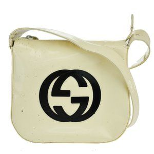 Auth GUCCI GG Logos Shoulder Bag Patent Leather